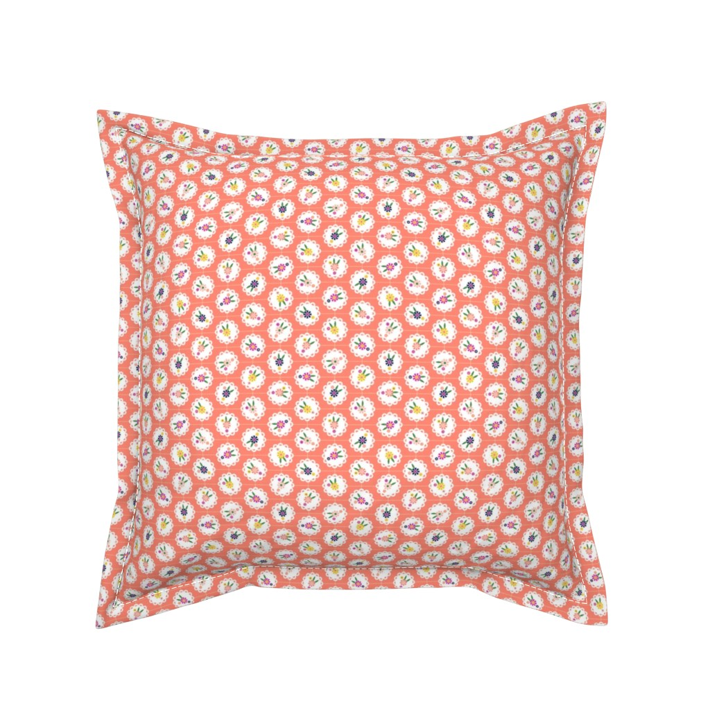 Serama Throw Pillow featuring Wedgewood* (Space Fruit) || flowers flower floral doily doilies vintage shabby chic garden lattice polka dots nature leaves garden living coral by pennycandy