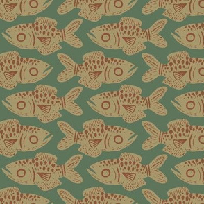 Hunter Green Fish Print