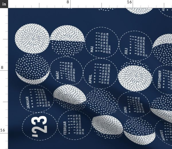 Moon Phases Calendar 2020.Fabric By The Yard German 2020 Calendar Monday Moon Phases