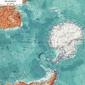 Map Wraps™Antarctica Ocean Fat Quarter Teal Blue