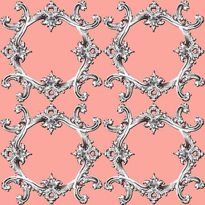 Rococo Swag ~ Coral over Dauphine