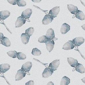 16-01c Acorns Autumn Leaf Leaves Slate blue on Gray_Miss Chiff Designs