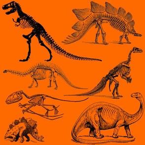 Vintage Museum Skeletons | Dinosaurs on Orange