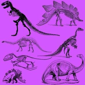 Vintage Museum Skeletons | Dinosaurs on  Orchid Purple