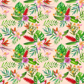 tropical flowers peach