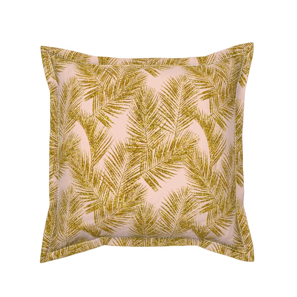 Serama Throw Pillow featuring gold glitter palm leaves - blush, mini by mirabelleprint