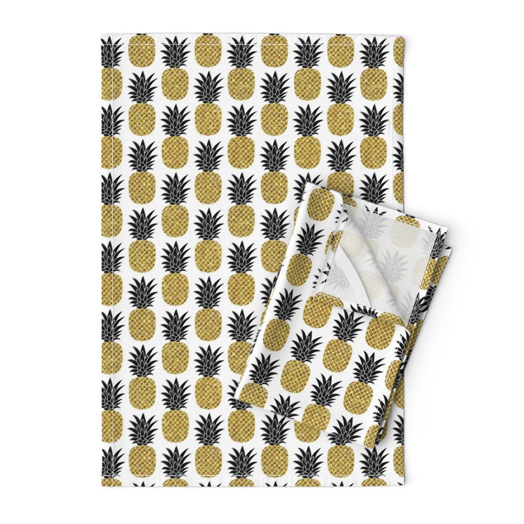 Orpington Tea Towels featuring gold glitter pineapples – black and gold on white, small. pineapples faux gold imitation tropical white background hot summer fruits shimmering metal effect texture fabric wallpaper giftwrap by mirabelleprint