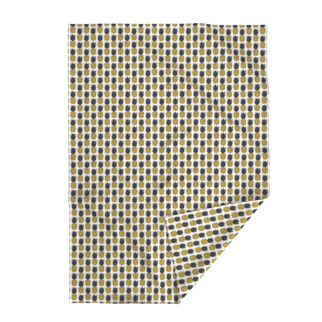 Lakenvelder Throw Blanket featuring gold glitter pineapples – black and gold on white, small. pineapples faux gold imitation tropical white background hot summer fruits shimmering metal effect texture fabric wallpaper giftwrap by mirabelleprint