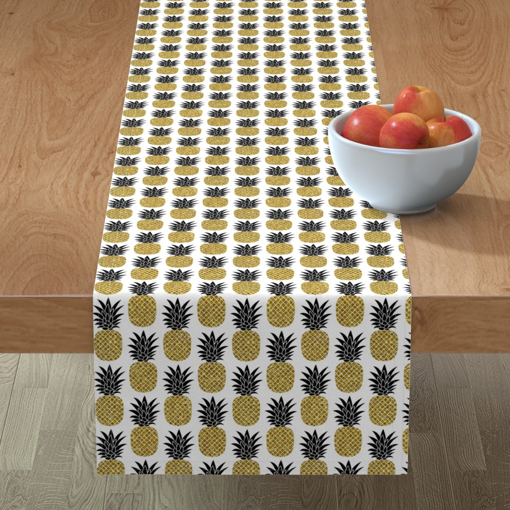 Minorca Table Runner featuring gold glitter pineapples – black and gold on white, small. pineapples faux gold imitation tropical white background hot summer fruits shimmering metal effect texture fabric wallpaper giftwrap by mirabelleprint