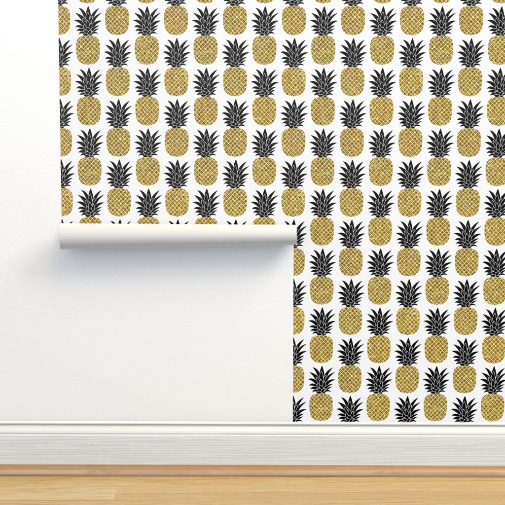 Isobar Durable Wallpaper featuring gold glitter pineapples – black and gold on white, small. pineapples faux gold imitation tropical white background hot summer fruits shimmering metal effect texture fabric wallpaper giftwrap by mirabelleprint