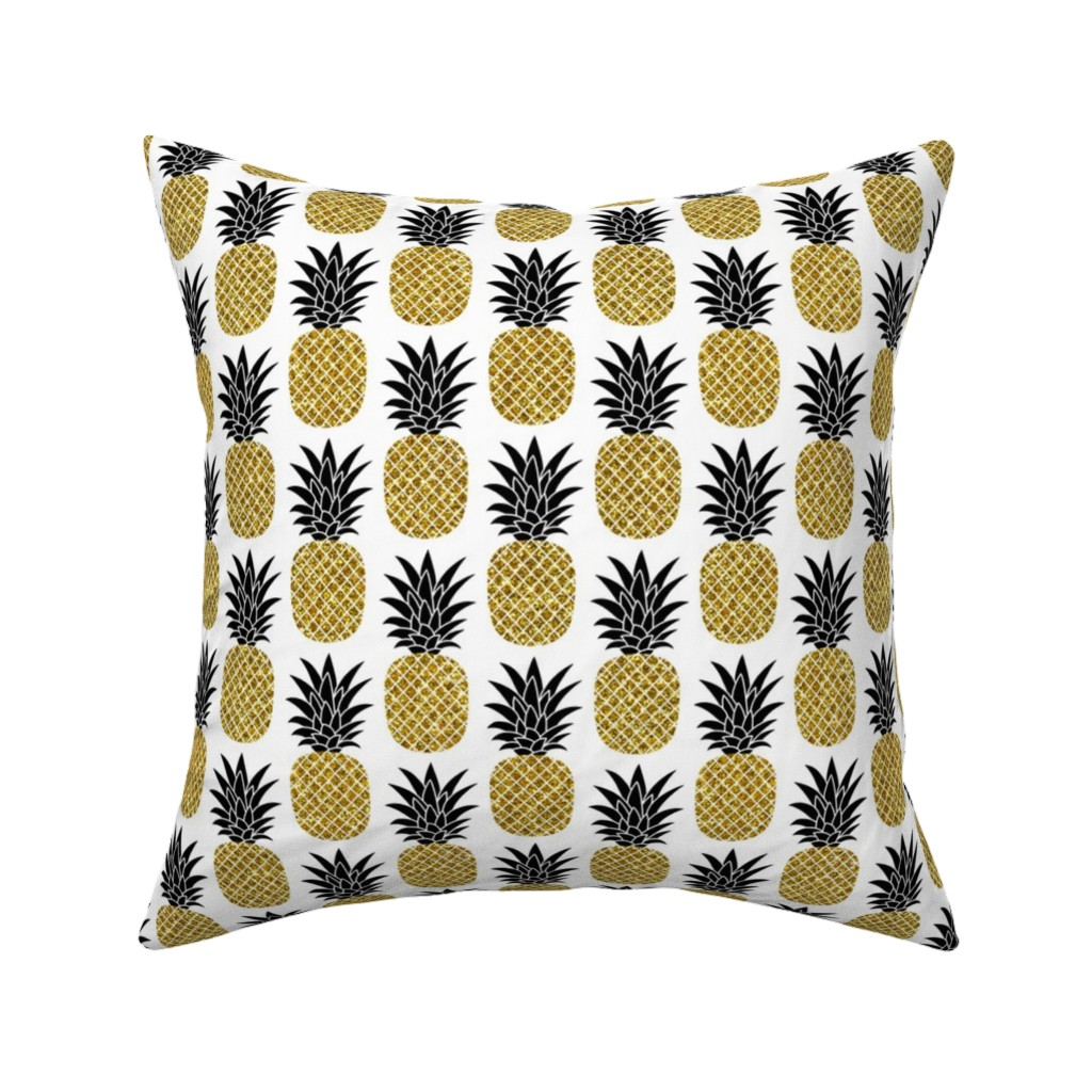 Catalan Throw Pillow featuring gold glitter pineapples – black and gold on white, small. pineapples faux gold imitation tropical white background hot summer fruits shimmering metal effect texture fabric wallpaper giftwrap by mirabelleprint