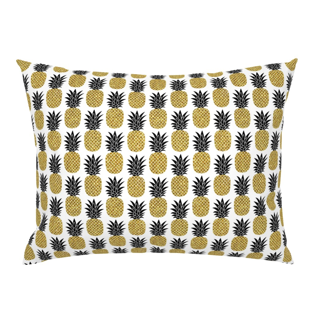 Campine Pillow Sham featuring gold glitter pineapples – black and gold on white, small. pineapples faux gold imitation tropical white background hot summer fruits shimmering metal effect texture fabric wallpaper giftwrap by mirabelle_print