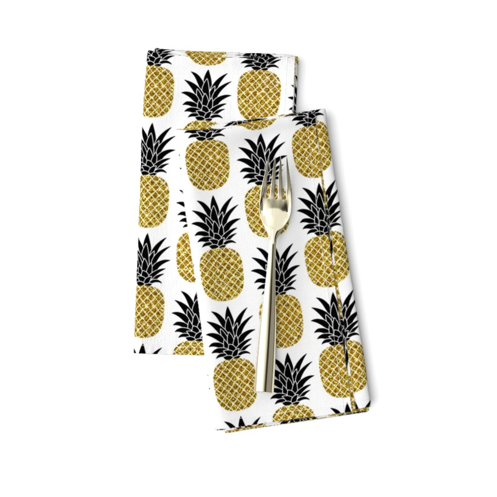 Amarela Dinner Napkins featuring gold glitter pineapples – black and gold on white, small. pineapples faux gold imitation tropical white background hot summer fruits shimmering metal effect texture fabric wallpaper giftwrap by mirabelleprint