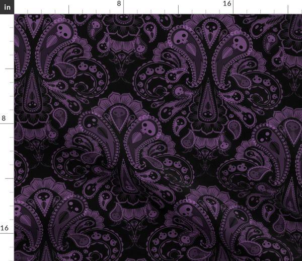 Ghost Paisley Purple Black Spoonflower