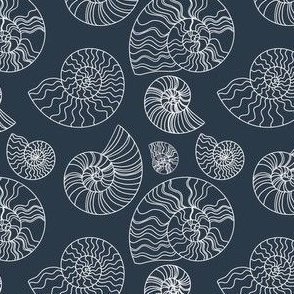 Fossils in Navy // Seashells // Nautical monochromatic repeat pattern // for men and women // by Zoe Charlotte