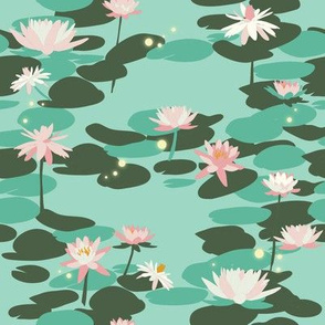 Tiana Waterlilies in Mint // Beautiful floral repeat pattern by Zoe Charlotte
