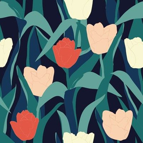 Big Tulips - Moody floral fabric