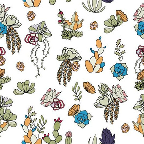 Hand Drawn Succulents Bright