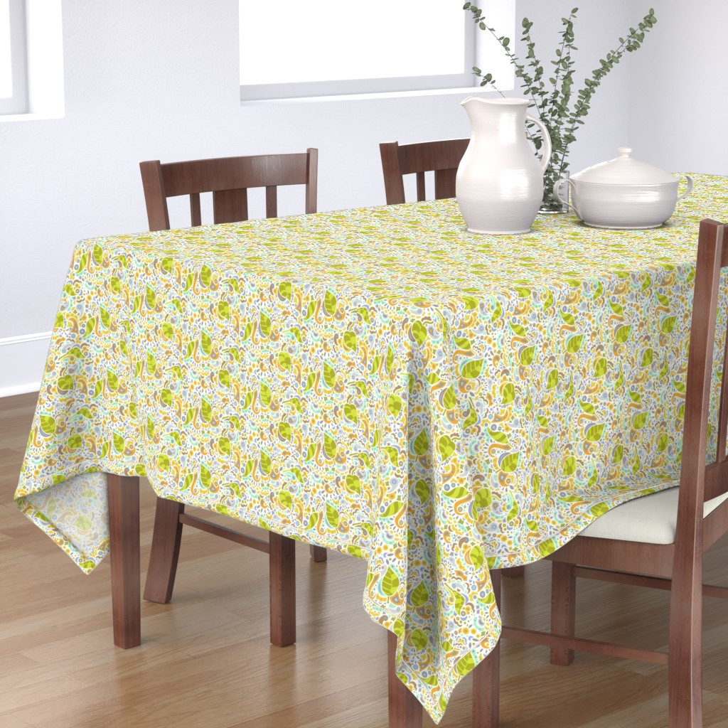 Bantam Rectangular Tablecloth featuring Happy Falling Leaves by katrinazerilli