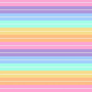 Large Retro Beach Stripes - Pastel Rainbow