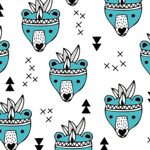 Cool geometric Scandinavian winter style indian summer animals little baby grizzly bear blue white