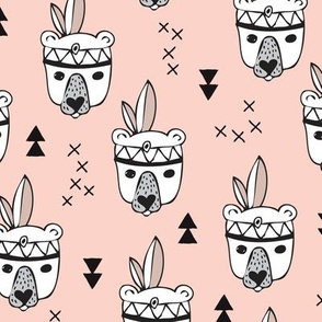 Cool geometric Scandinavian winter style indian summer animals little baby grizzly bear peach pink