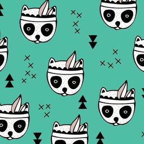 Cool geometric Scandinavian winter style indian summer animals little baby panda green