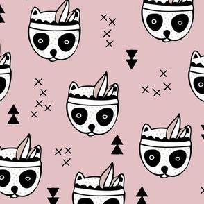 Cool geometric Scandinavian winter style indian summer animals little baby panda blush pink