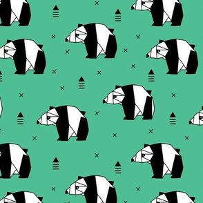 Origami animals cute panda geometric triangle and scandinavian style print black and white green