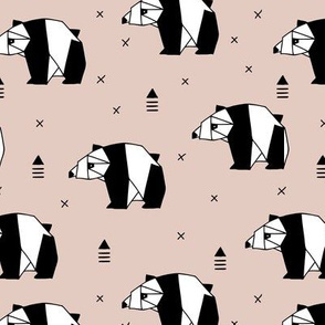 Origami animals cute panda geometric triangle and scandinavian style print black and white beige