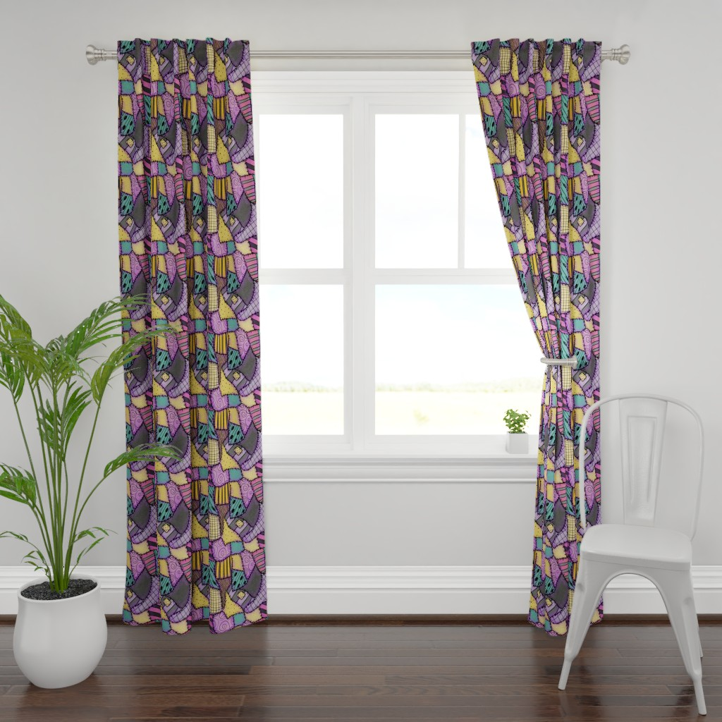 Plymouth Curtain Panel featuring Ragdoll Scraps - Small by elladorine