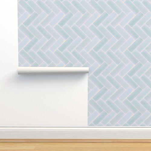 Light Blue Herringbone Tile Backsplash Spoonflower