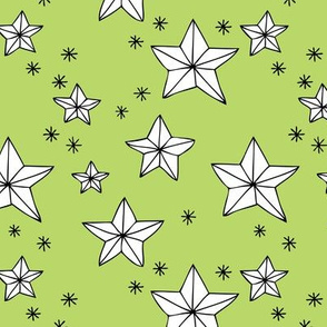 Origami decoration stars seasonal geometric december holiday holy night design lime green