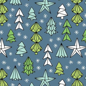 Christmas trees and origami decoration stars seasonal geometric december holiday design green blue night