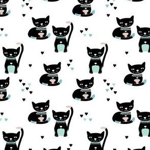 Kitty black cat cute love cats fabric mint blue