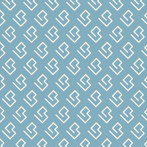Geometric abstract maze scandinavian shape blue