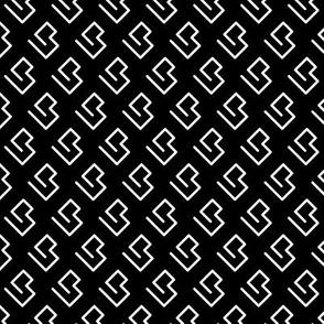 Geometric abstract maze scandinavian shape black and white