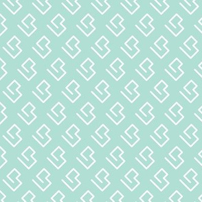 Geometric abstract maze scandinavian shape mint
