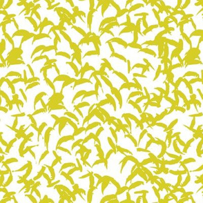 Trendy Scandinavian art abstract brush strokes and raw lines and spots mustard yellow and white