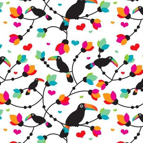 Sweet tropical toucan birds tucan summer fabric in jungle forest branches colorful fabric for kids
