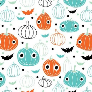 Halloween pumpkin and bats illustration ids fabric blue orange