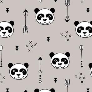 Sweet little baby panda geometric crosses and arrows fabric gender neutral beige