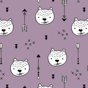 Sweet little baby beaver geometric crosses and arrows fabric lilac purple