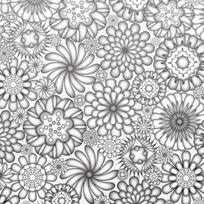 Ceramic Flowers Gradient Wallpaper (Monochromatic)