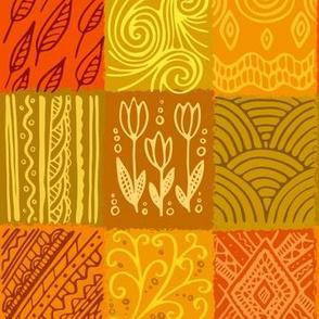 Orange pattern, hand drawn patchwork