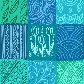 Blue pattern, hand drawn patchwork