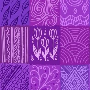Violett pattern, hand drawn patchwork