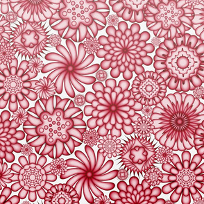 Ceramic Flowers Gradient Wallpaper (Tomato)