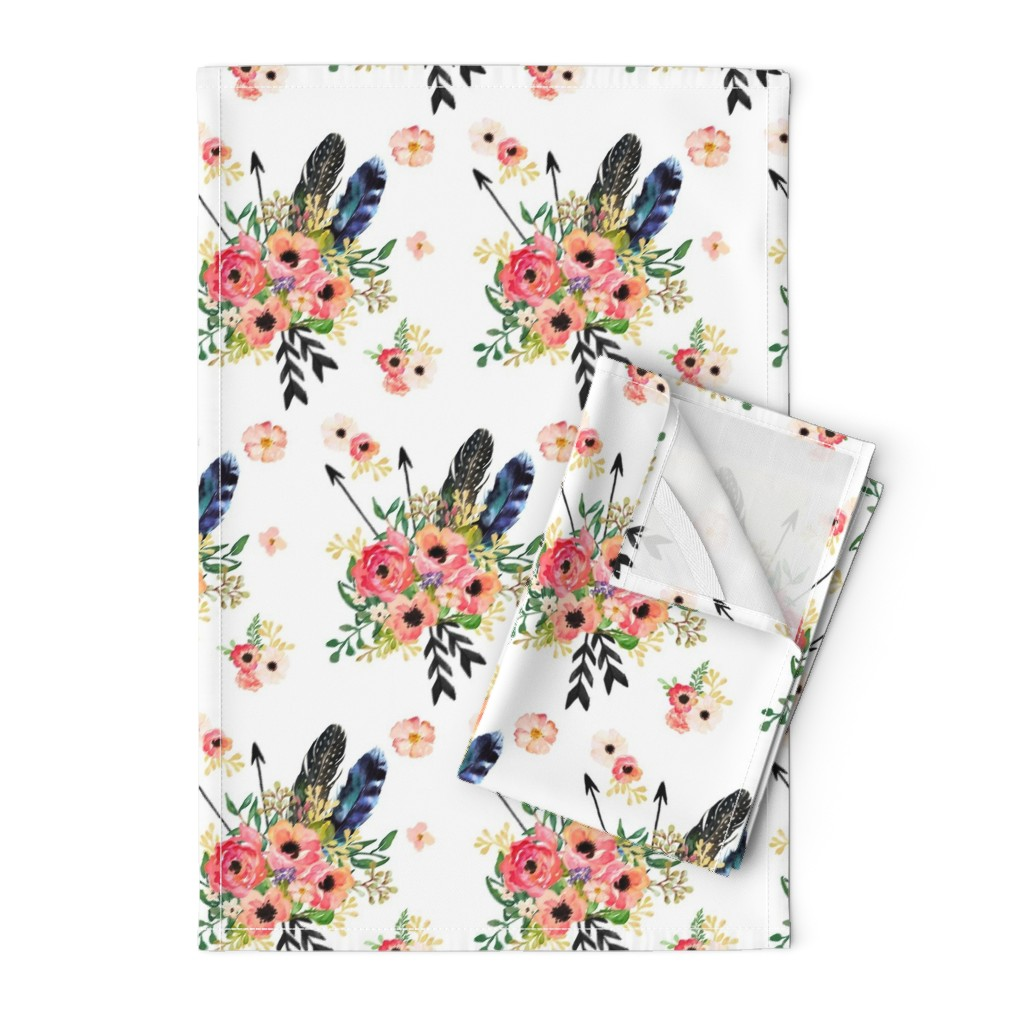 Orpington Tea Towels featuring Boho Floral Dreams with Arrows - WHITE by shopcabin