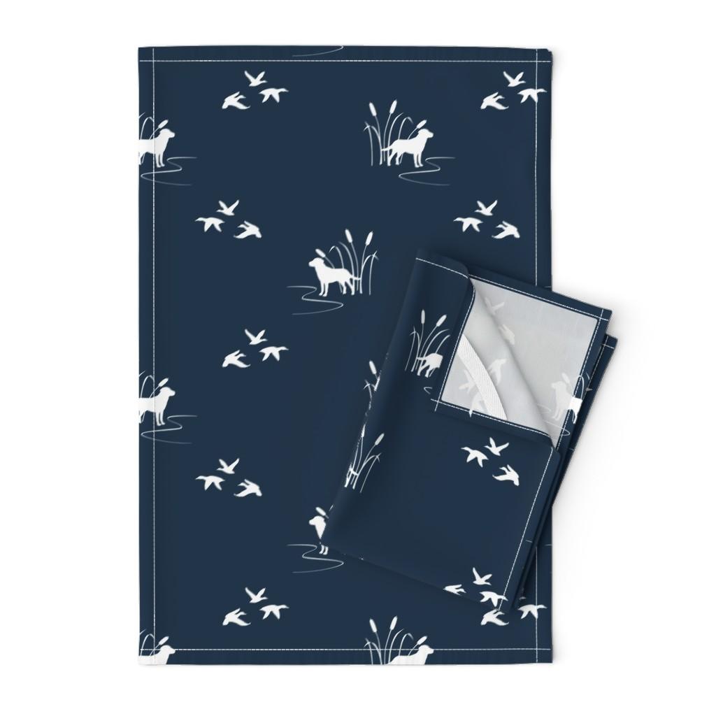 Orpington Tea Towels featuring Dog Ducks hunting scene Dark Navy by mrshervi